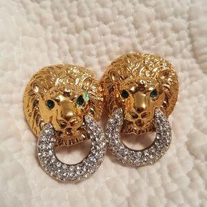 Vintage kenneth jay lane lion clip on earrings